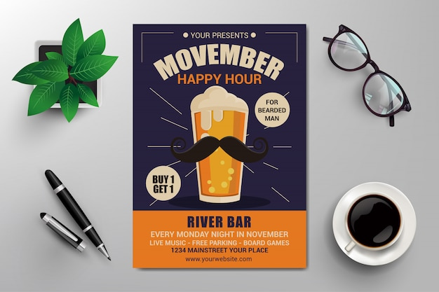 Modelo de folheto do happy hour de movember
