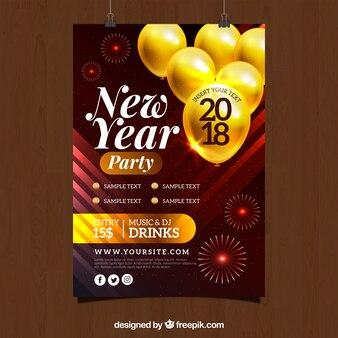 Modelo de folheto do partido de ano novo com balões amarelos