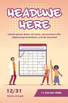 Modelo de folheto do professor explicando a lição para os alunos