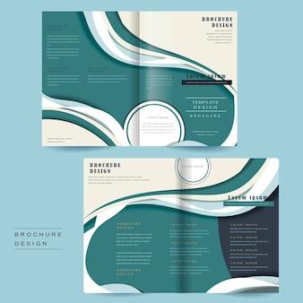 Modelo de folheto dobrável com design simplificado em azul e branco