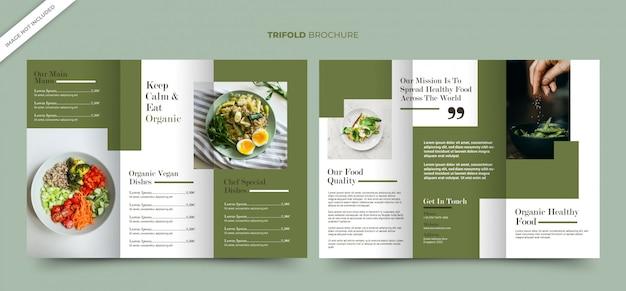 Modelo de folheto dobrável em três partes para loja de alimentos saudáveis orgânicos