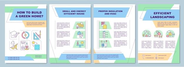 Modelo de folheto doméstico verde. edifício sustentável para viver.