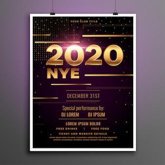 Modelo de folheto dourado - festa de véspera de ano novo de 2020
