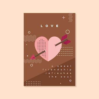 Modelo de folheto e cartão de dia dos namorados