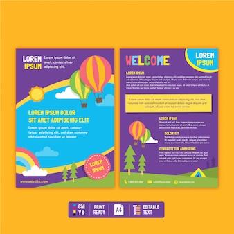 Modelo de folheto e folheto colorido de criança