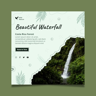 Modelo de folheto em formato quadrado com linda cachoeira