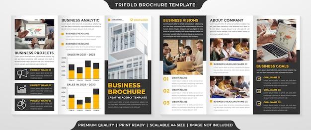 Modelo de folheto empresarial minimalista com três dobras estilo premium