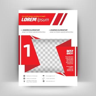 Modelo de folheto empresarial vermelho e branco