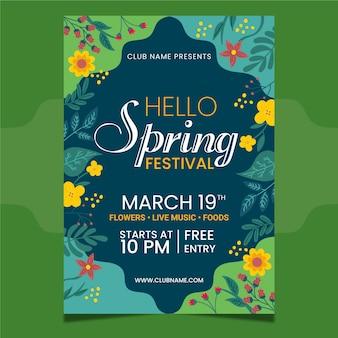 Modelo de folheto - festa da primavera desenhados à mão