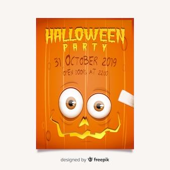 Modelo de folheto - festa de halloween assustador de abóbora de olhos
