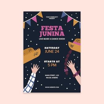 Modelo de folheto - festa junina desenhada de mão