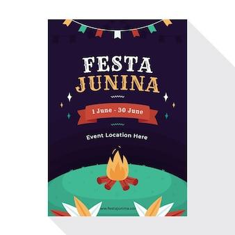 Modelo de folheto festa junina em design plano