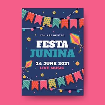 Modelo de folheto - festa junina plana
