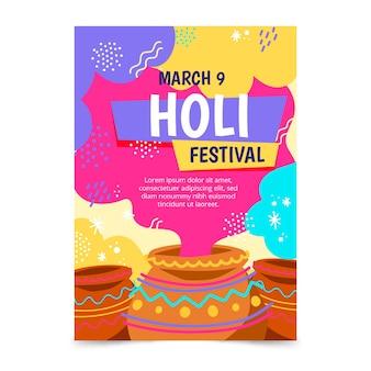 Modelo de folheto festival holi desenhados à mão