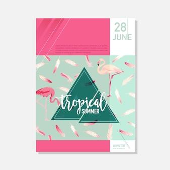 Modelo de folheto. flores tropicais e fundo gráfico do verão de pássaros flamingo, banner floral exótico, convite, folheto ou cartão. página inicial moderna