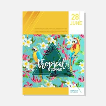 Modelo de folheto. flores tropicais e papagaios fundo gráfico de verão, banner floral exótico, convite, folheto ou cartão. página inicial moderna