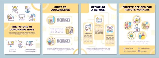 Modelo de folheto futuro dos hubs de coworking