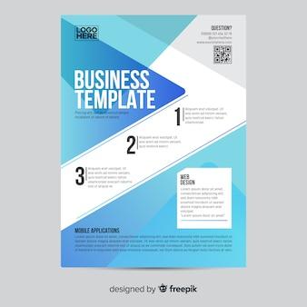 Modelo de folheto - infográfico de negócios geométricos