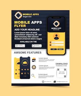 Modelo de folheto informativo de aplicativo móvel