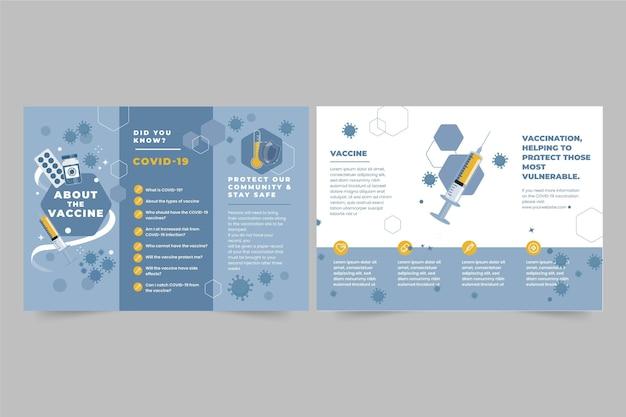 Modelo de folheto informativo de vacinação contra coronavírus desenhado à mão plana