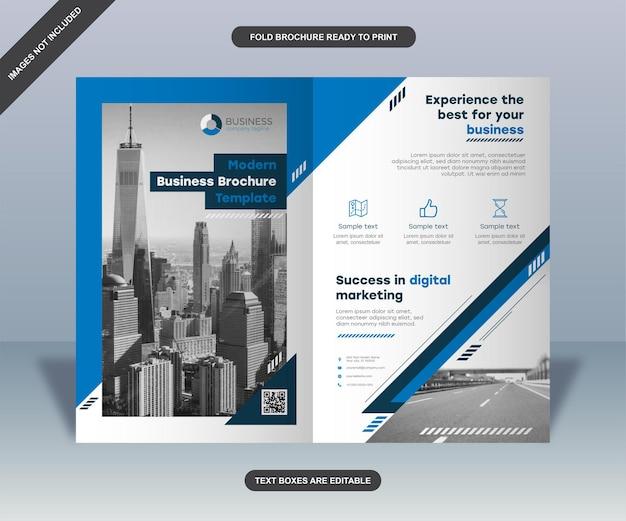 Modelo de folheto informativo dobrado para negócios azul