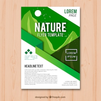 Modelo de folheto linda natureza com estilo moderno