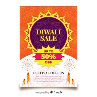 Modelo de folheto linda venda diwali com design plano