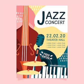 Modelo de folheto - mão abstrata música jazz desenhada