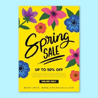 Modelo de folheto mão desenhada primavera venda com flores