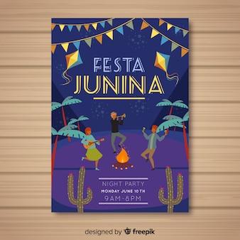 Modelo de folheto mão junina de festa desenhada