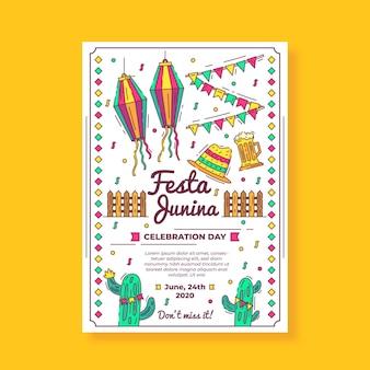 Modelo de folheto - mão junina festa desenhada