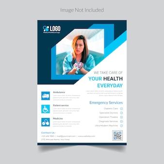 Modelo de folheto médico, cuidados de saúde
