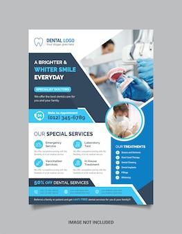 Modelo de folheto médico odontológico com cor azul escuro e claro