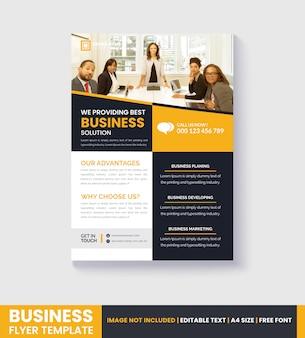 Modelo de folheto moderno amarelo e negócios