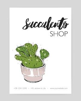 Modelo de folheto moderno com cacto verde crescendo na mão de maconha desenhada. planta de deserto com espinhos, suculentas em vasos decorativos.