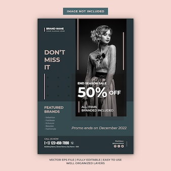 Modelo de folheto moderno minimalista para venda de moda no fim da temporada