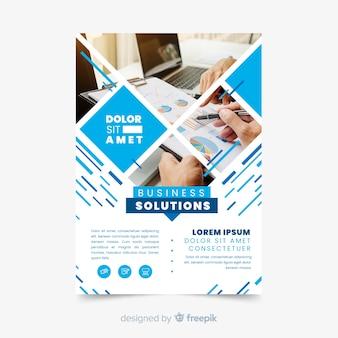 Modelo de folheto - mosaico de soluções de negócios