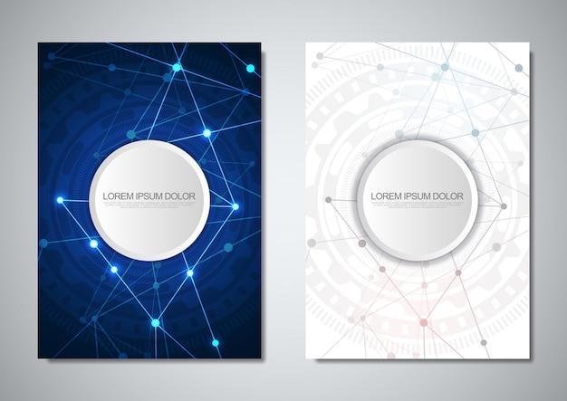 Modelo de folheto ou design de capa. tecnologia digital com fundo de plexo e espaço para seu texto. fundo abstrato geométrico de pontos e linhas de conexão.