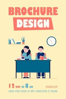 Modelo de folheto para alunos em sala de aula