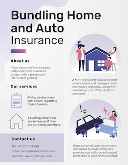 Modelo de folheto para o pacote de seguro residencial e automóvel