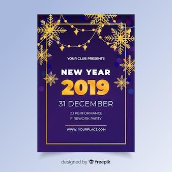 Modelo de folheto plana ano novo 2019