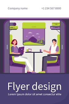 Modelo de folheto plano para pessoas felizes viajando de trem