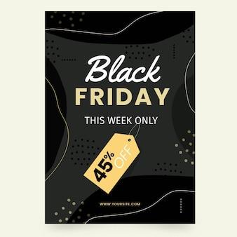 Modelo de folheto preto desenhado à mão na sexta-feira