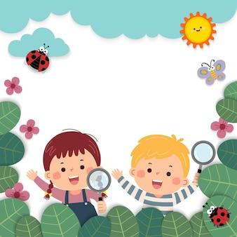 Modelo de folheto publicitário com desenho de menina e menino segurando lupas na natureza