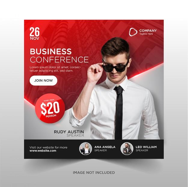 Modelo de folheto quadrado - banner de mídia social de conferência de negócios
