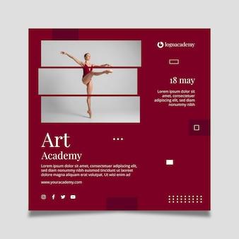Modelo de folheto quadrado da academia de arte