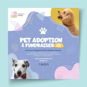 Modelo de folheto quadrado de adoção de animal de estimação
