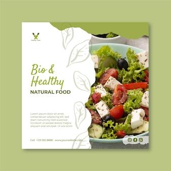 Modelo de folheto quadrado de alimentos saudáveis e bio