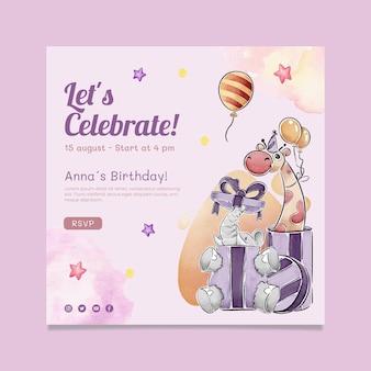 Modelo de folheto quadrado de aniversário infantil