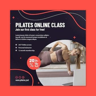 Modelo de folheto quadrado de aula online de pilates